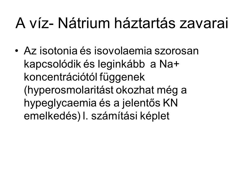 A víz- Nátrium háztartás zavarai Az isotonia és isovolaemia szorosan kapcsolódik és leginkább a Na+ koncentrációtól függenek (hyperosmolaritást okozha