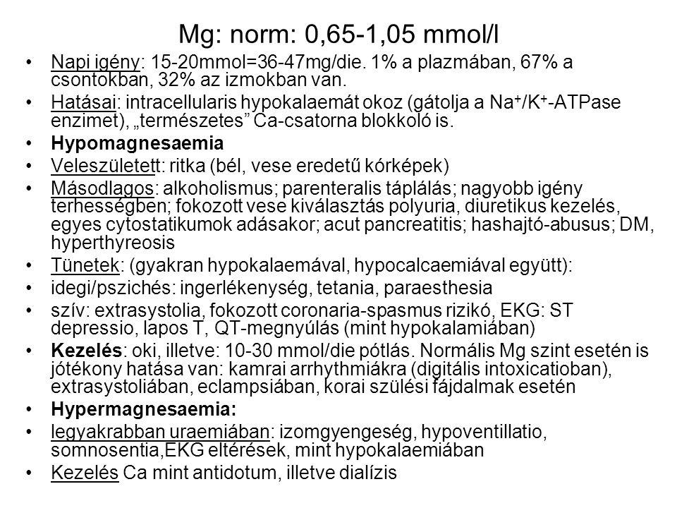 Mg: norm: 0,65-1,05 mmol/l Napi igény: 15-20mmol=36-47mg/die. 1% a plazmában, 67% a csontokban, 32% az izmokban van. Hatásai: intracellularis hypokala