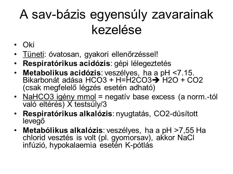 A sav-bázis egyensúly zavarainak kezelése Oki Tüneti: óvatosan, gyakori ellenőrzéssel! Respiratórikus acidózis: gépi lélegeztetés Metabolikus acidózis