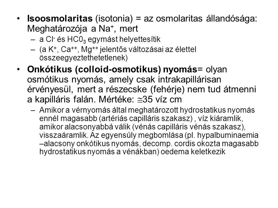 Alkalózis Hatásai: káliumhiány, csökkent ionizált Ca szint (tetania), alkáliás vizelet: Metabolikus alkalózis: –gyomorsavvesztés hányás miatt –diuretikus kezelés okozta hypokalaemia (fokozott hidrogén kiválasztás) –Conn szindróma (az aldosteron fokozza a Kálium és hidrogén ionok excretióját) –fokozott bikarbonát bevitel Tünetek: tetania, extrasystolék, hypoventillatio Diagnózis: HCO3- emelkedett, kompenzálására a CO2 is emelkedett, pH normális (kompenzált, vagy magas (dekompenzált alkalózis) Respiratórikus alkalózis: –hyperventillatio (pszichés), hypoxia kompenzálására, agyi zavarokban, Tünetek: hyperventillatio Diagnózis: alacsony PCO2, kompenzálására HCO3- is alacsony, pH normális (kompenzált, vagy magas (dekompenzált alkalózis)