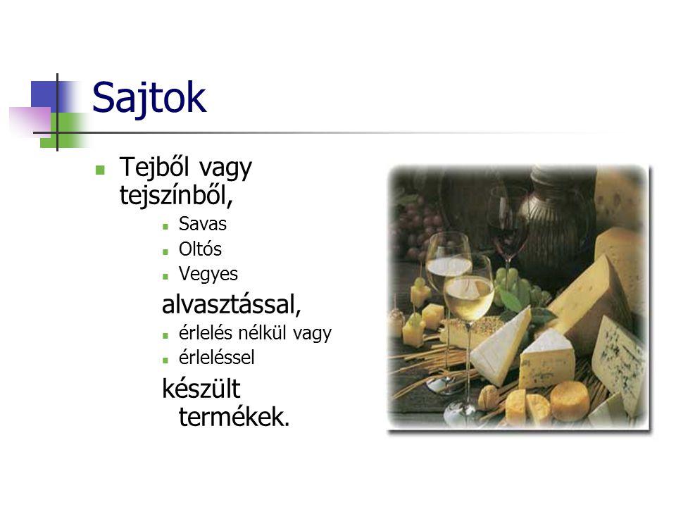 Sajtok Tejből vagy tejszínből, Savas Oltós Vegyes alvasztással, érlelés nélkül vagy érleléssel készült termékek.