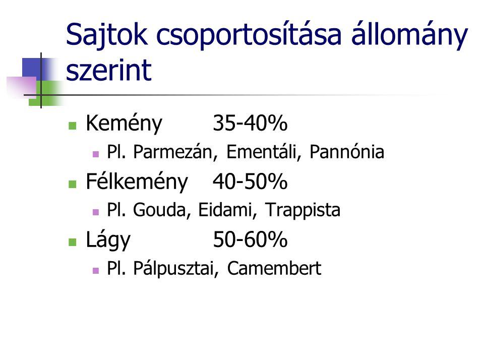Sajtok csoportosítása állomány szerint Kemény 35-40% Pl. Parmezán, Ementáli, Pannónia Félkemény40-50% Pl. Gouda, Eidami, Trappista Lágy50-60% Pl. Pálp