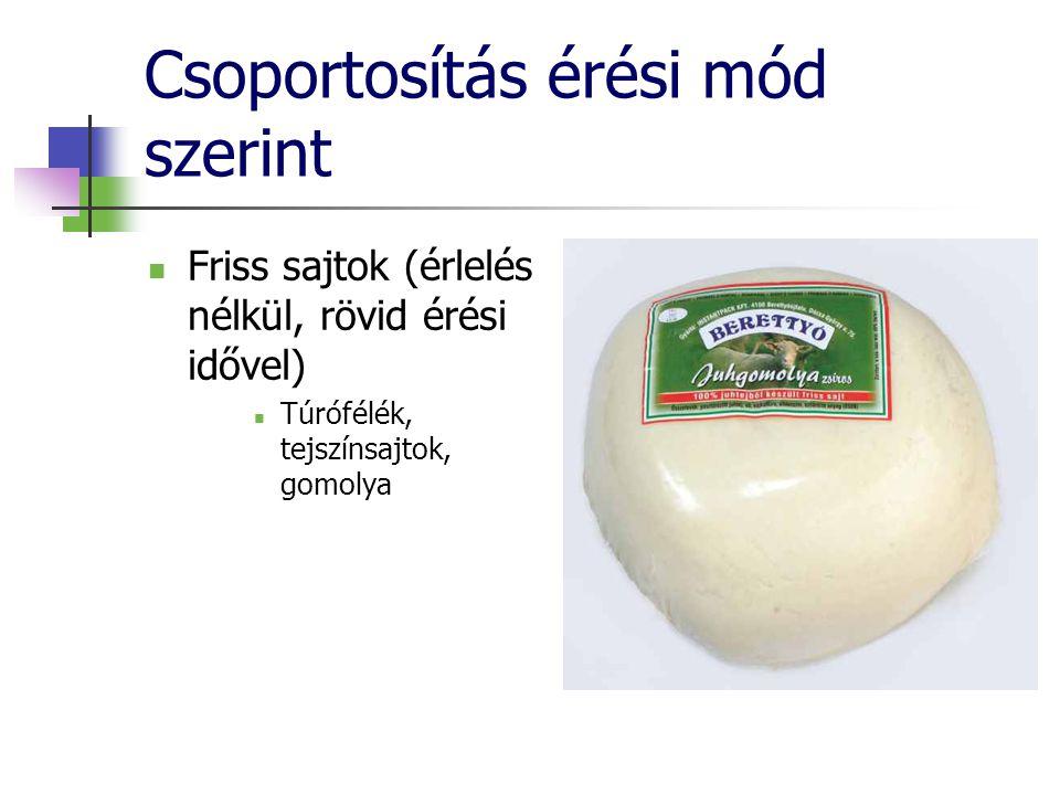 Csoportosítás érési mód szerint Friss sajtok (érlelés nélkül, rövid érési idővel) Túrófélék, tejszínsajtok, gomolya