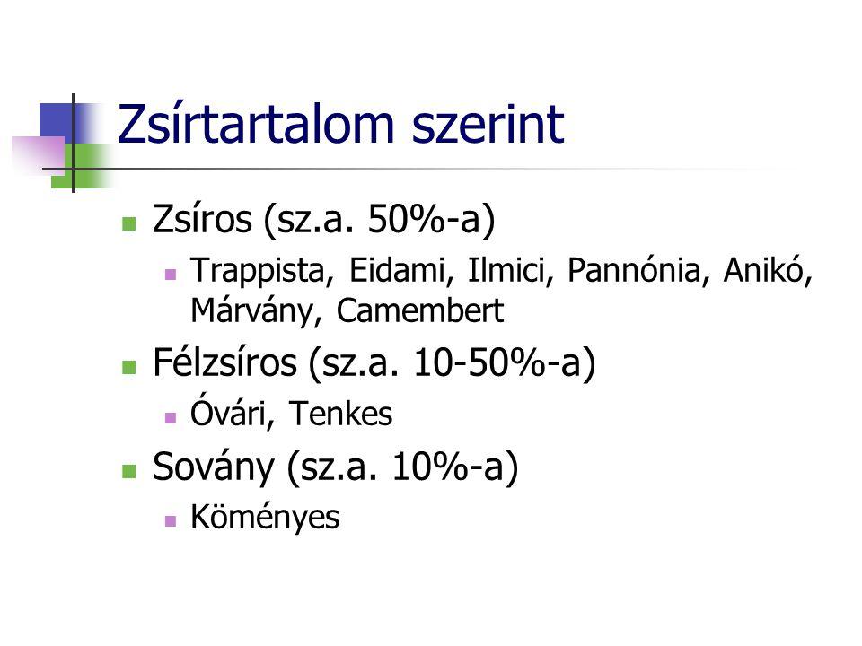 Zsírtartalom szerint Zsíros (sz.a. 50%-a) Trappista, Eidami, Ilmici, Pannónia, Anikó, Márvány, Camembert Félzsíros (sz.a. 10-50%-a) Óvári, Tenkes Sová