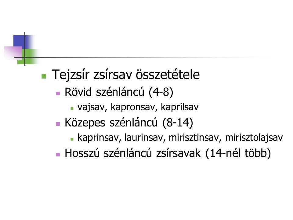 Tejzsír zsírsav összetétele Rövid szénláncú (4-8) vajsav, kapronsav, kaprilsav Közepes szénláncú (8-14) kaprinsav, laurinsav, mirisztinsav, mirisztola