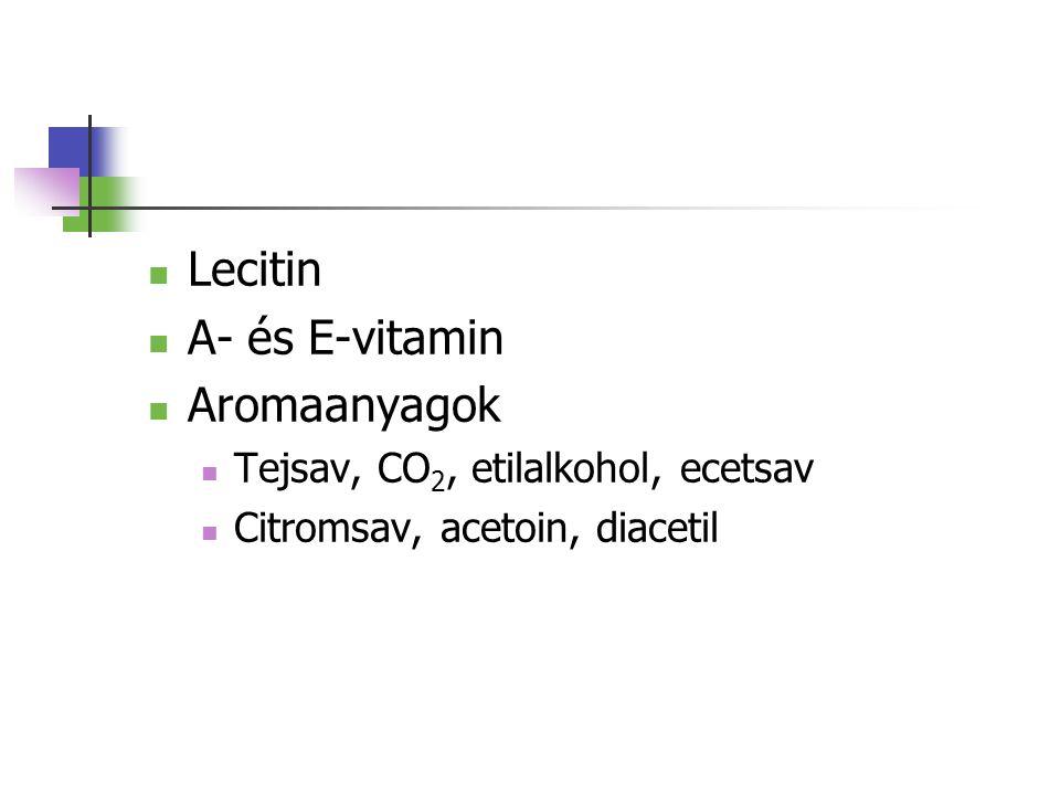 Lecitin A- és E-vitamin Aromaanyagok Tejsav, CO 2, etilalkohol, ecetsav Citromsav, acetoin, diacetil