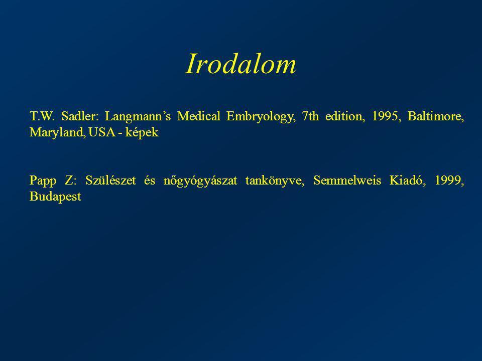 Irodalom T.W. Sadler: Langmann's Medical Embryology, 7th edition, 1995, Baltimore, Maryland, USA - képek Papp Z: Szülészet és nőgyógyászat tankönyve,