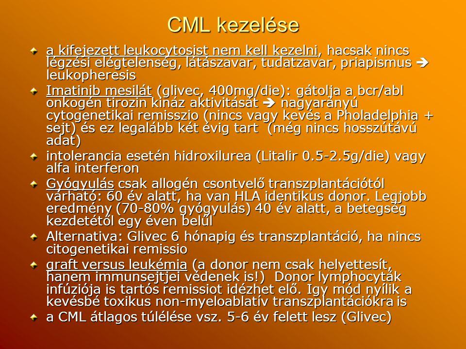CML kezelése a kifejezett leukocytosist nem kell kezelni, hacsak nincs légzési elégtelenség, látászavar, tudatzavar, priapismus  leukopheresis Imatin