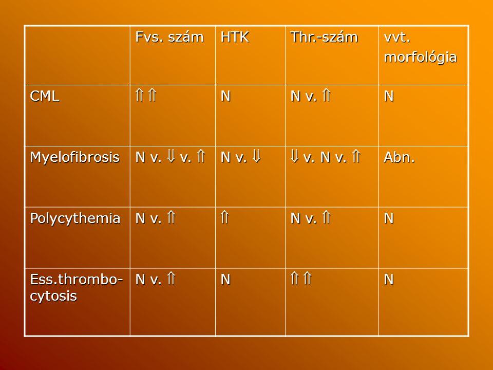 Fvs. szám HTKThr.-számvvt.morfológia CML     N N v.  N Myelofibrosis N v.  v.  N v.   v. N v.  Abn. Polycythemia N v.   N Ess.thrombo-