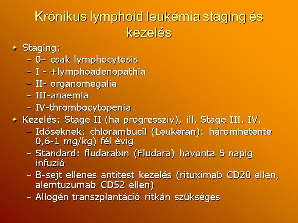 Krónikus lymphoid leukémia staging és kezelés Staging: –0– csak lymphocytosis –I - +lymphoadenopathia –II- organomegalia –III-anaemia –IV-thrombocytop