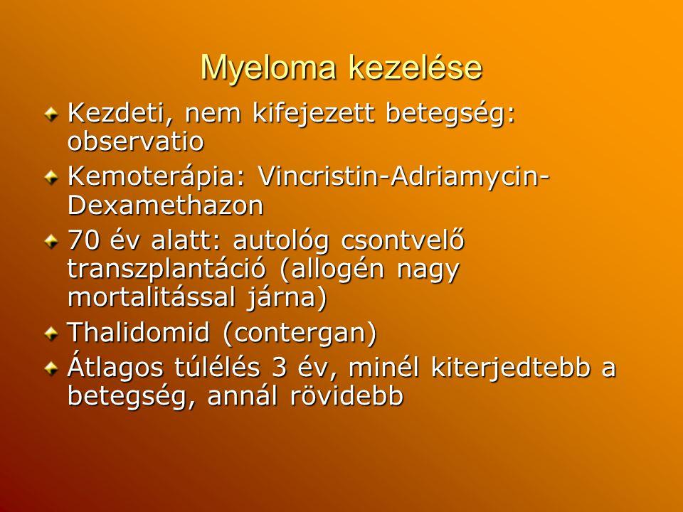 Myeloma kezelése Kezdeti, nem kifejezett betegség: observatio Kemoterápia: Vincristin-Adriamycin- Dexamethazon 70 év alatt: autológ csontvelő transzpl