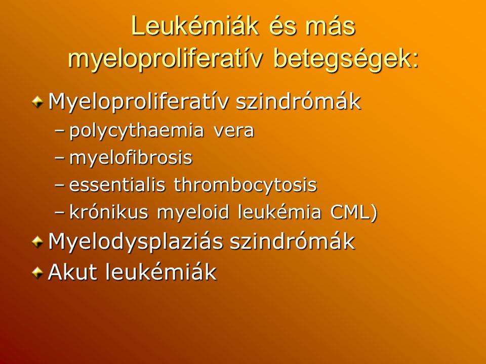 Leukémiák és más myeloproliferatív betegségek: Myeloproliferatív szindrómák –polycythaemia vera –myelofibrosis –essentialis thrombocytosis –krónikus m