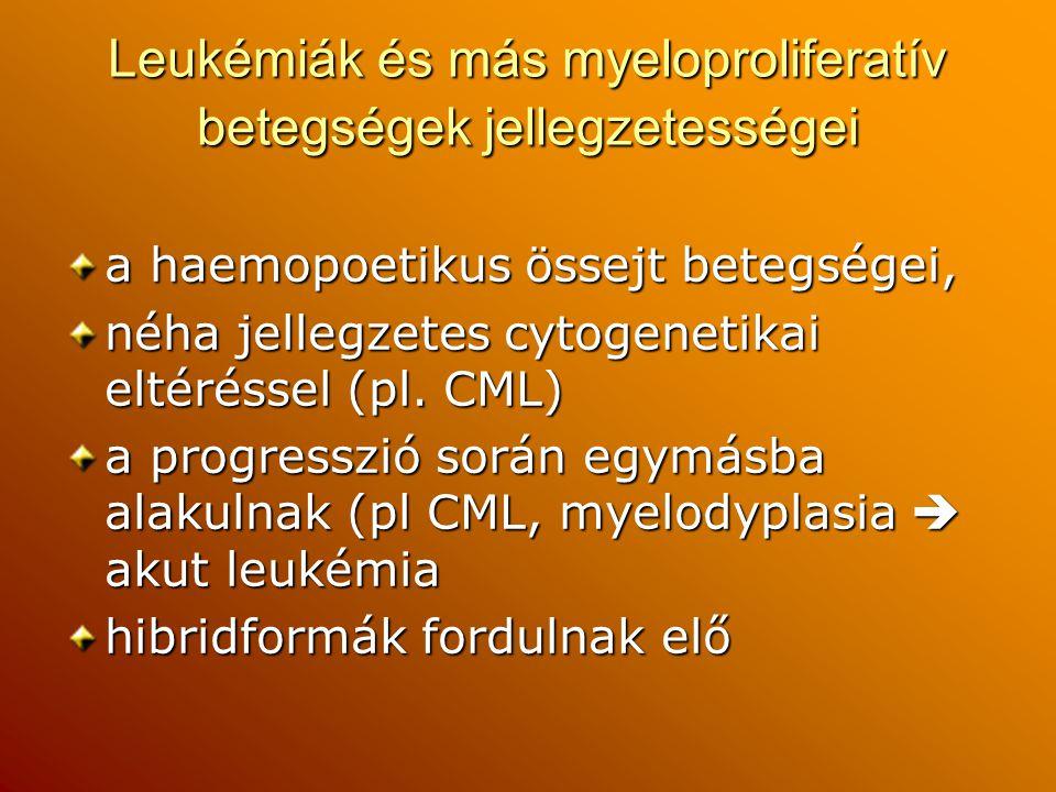 Leukémiák és más myeloproliferatív betegségek jellegzetességei a haemopoetikus össejt betegségei, néha jellegzetes cytogenetikai eltéréssel (pl. CML)
