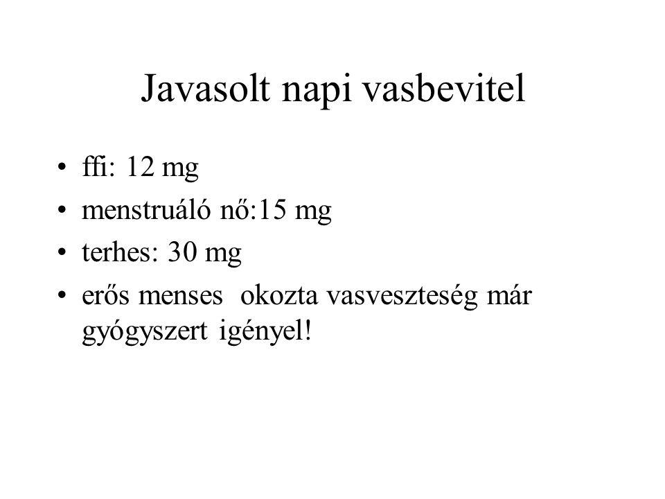 Javasolt napi vasbevitel ffi: 12 mg menstruáló nő:15 mg terhes: 30 mg erős menses okozta vasveszteség már gyógyszert igényel!