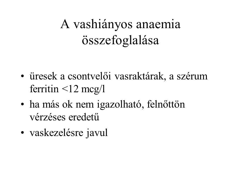 A vashiányos anaemia összefoglalása üresek a csontvelői vasraktárak, a szérum ferritin <12 mcg/l ha más ok nem igazolható, felnőttön vérzéses eredetű