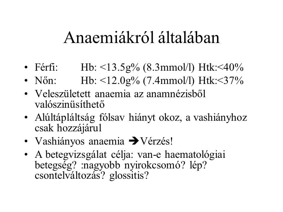 Anaemiákról általában Férfi:Hb: <13.5g% (8.3mmol/l) Htk:<40% Nőn:Hb: <12.0g% (7.4mmol/l) Htk:<37% Veleszületett anaemia az anamnézisből valószinüsíthe