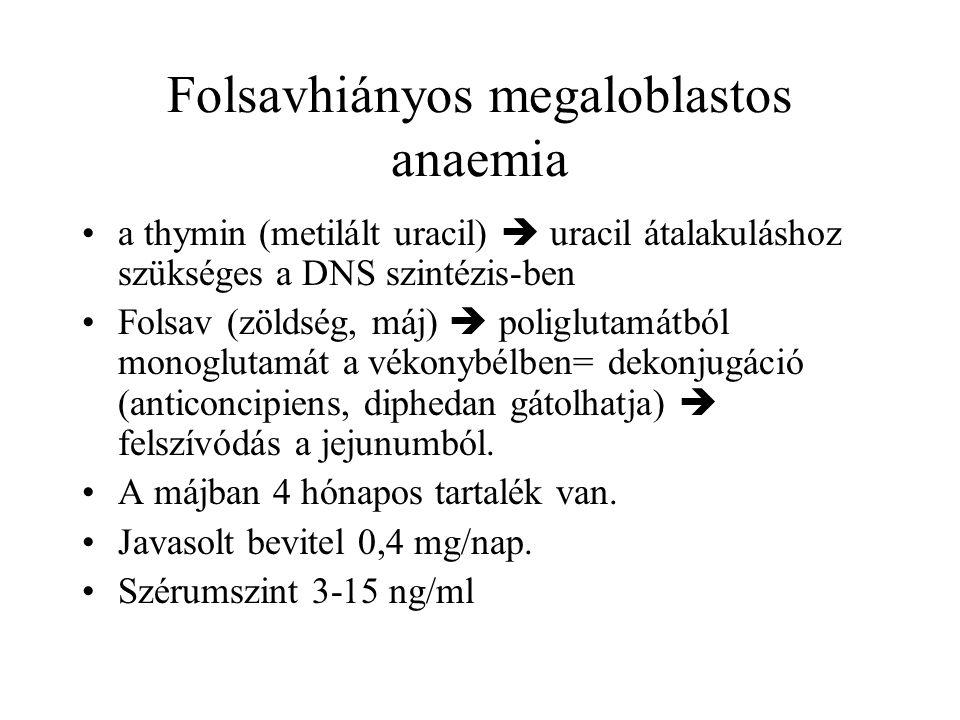 Folsavhiányos megaloblastos anaemia a thymin (metilált uracil)  uracil átalakuláshoz szükséges a DNS szintézis-ben Folsav (zöldség, máj)  poliglutam