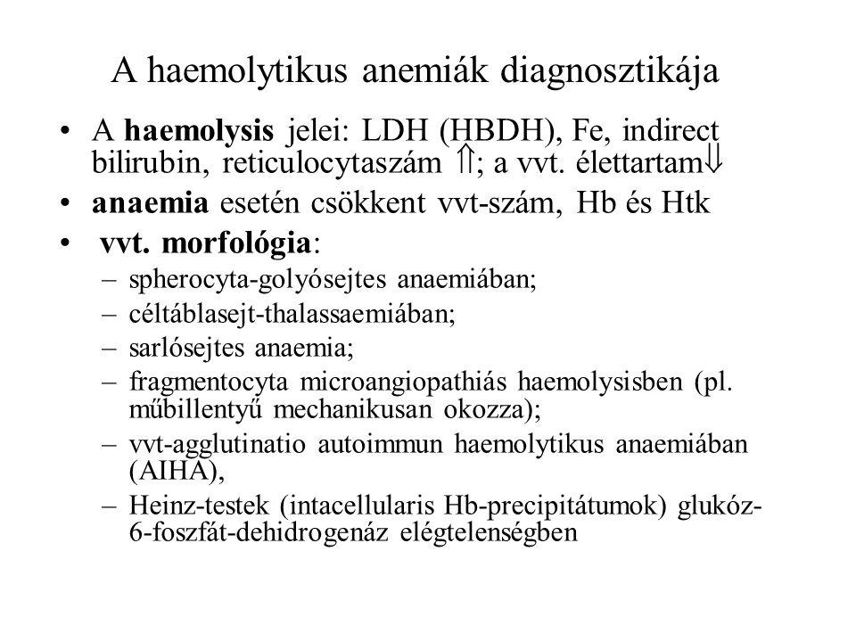A haemolytikus anemiák diagnosztikája A haemolysis jelei: LDH (HBDH), Fe, indirect bilirubin, reticulocytaszám  ; a vvt. élettartam  anaemia esetén