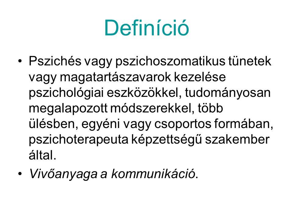 Definíció Pszichés vagy pszichoszomatikus tünetek vagy magatartászavarok kezelése pszichológiai eszközökkel, tudományosan megalapozott módszerekkel, t