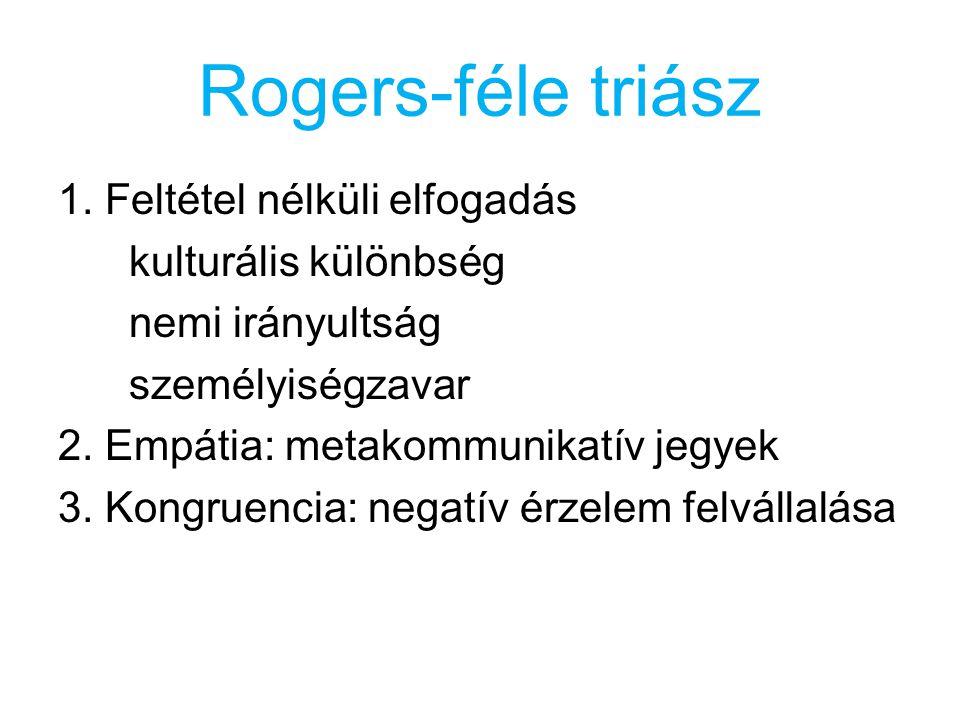 Rogers-féle triász 1. Feltétel nélküli elfogadás kulturális különbség nemi irányultság személyiségzavar 2. Empátia: metakommunikatív jegyek 3. Kongrue