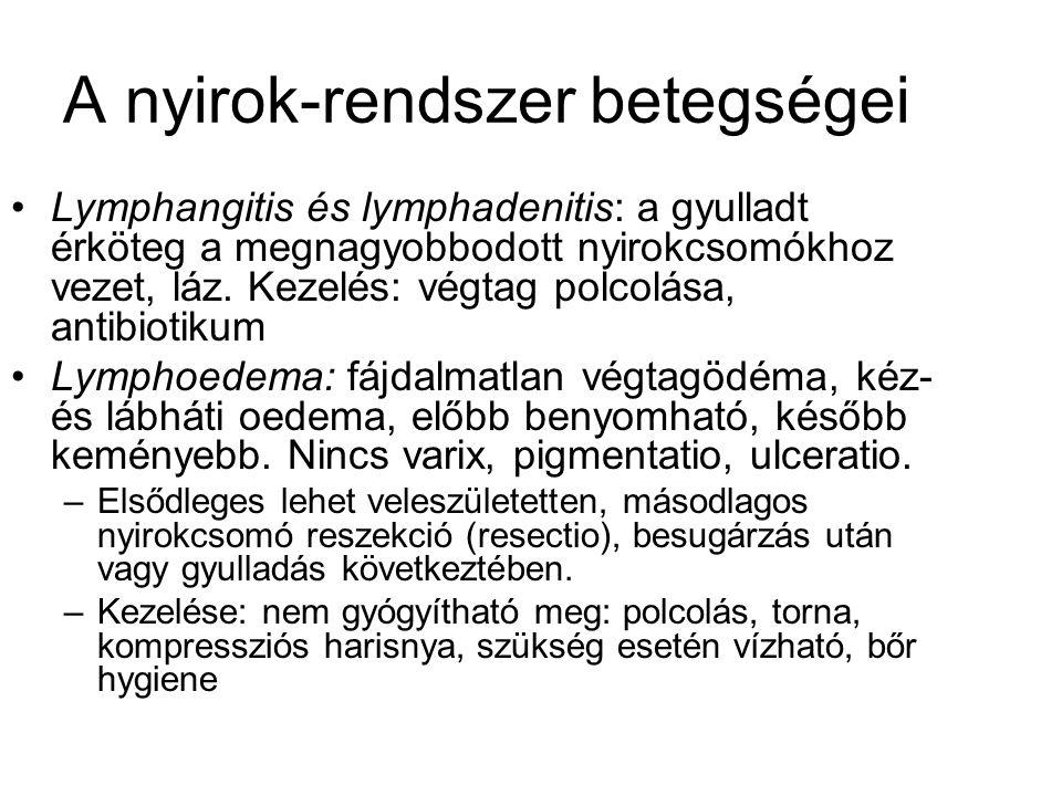 A nyirok-rendszer betegségei Lymphangitis és lymphadenitis: a gyulladt érköteg a megnagyobbodott nyirokcsomókhoz vezet, láz. Kezelés: végtag polcolása