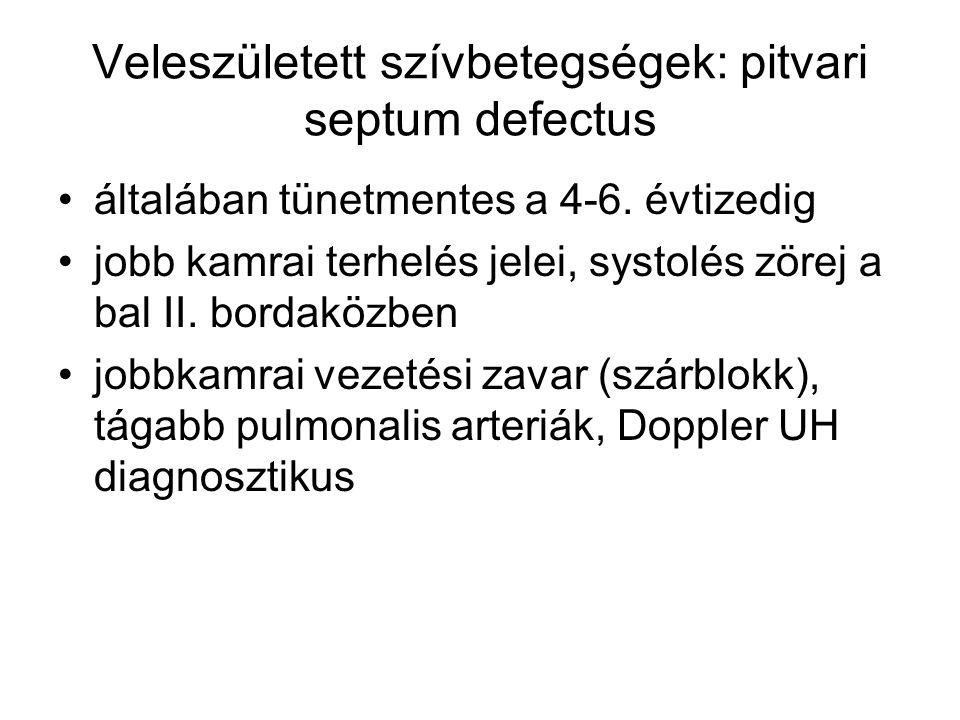 Veleszületett szívbetegségek: pitvari septum defectus általában tünetmentes a 4-6. évtizedig jobb kamrai terhelés jelei, systolés zörej a bal II. bord