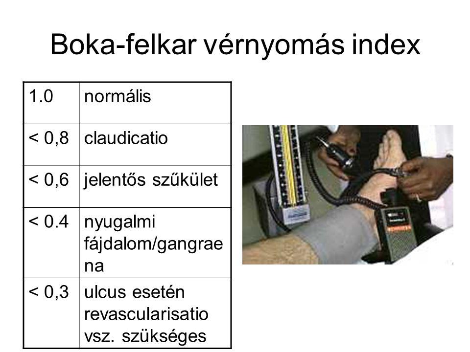 Boka-felkar vérnyomás index 1.0normális < 0,8claudicatio < 0,6jelentős szűkület < 0.4nyugalmi fájdalom/gangrae na < 0,3ulcus esetén revascularisatio v