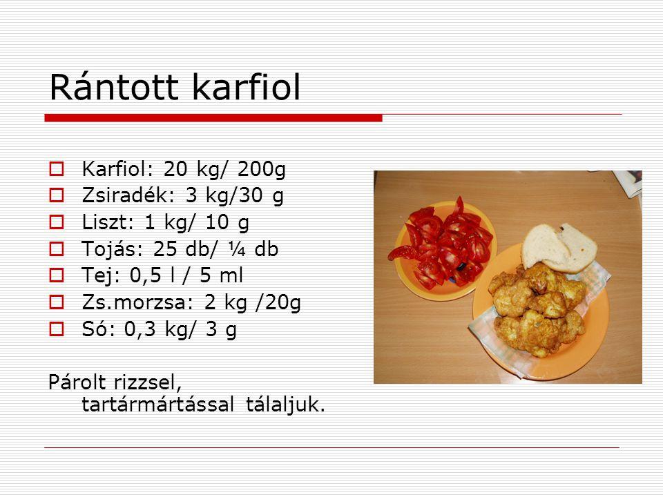 Rántott karfiol  Karfiol: 20 kg/ 200g  Zsiradék: 3 kg/30 g  Liszt: 1 kg/ 10 g  Tojás: 25 db/ ¼ db  Tej: 0,5 l / 5 ml  Zs.morzsa: 2 kg /20g  Só: