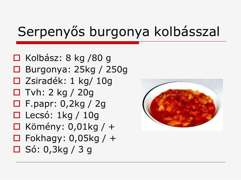 Serpenyős burgonya kolbásszal  Kolbász: 8 kg /80 g  Burgonya: 25kg / 250g  Zsiradék: 1 kg/ 10g  Tvh: 2 kg / 20g  F.papr: 0,2kg / 2g  Lecsó: 1kg