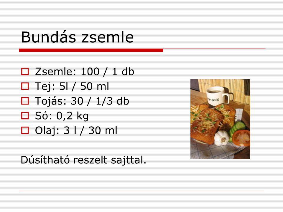 Bundás zsemle  Zsemle: 100 / 1 db  Tej: 5l / 50 ml  Tojás: 30 / 1/3 db  Só: 0,2 kg  Olaj: 3 l / 30 ml Dúsítható reszelt sajttal.