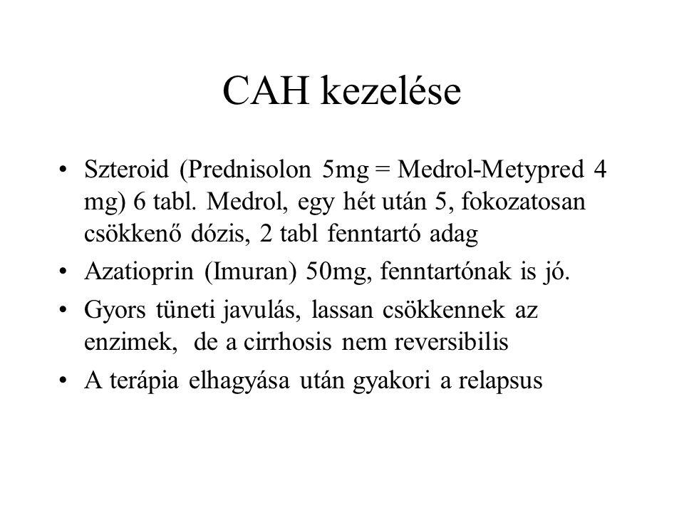 CAH kezelése Szteroid (Prednisolon 5mg = Medrol-Metypred 4 mg) 6 tabl. Medrol, egy hét után 5, fokozatosan csökkenő dózis, 2 tabl fenntartó adag Azati