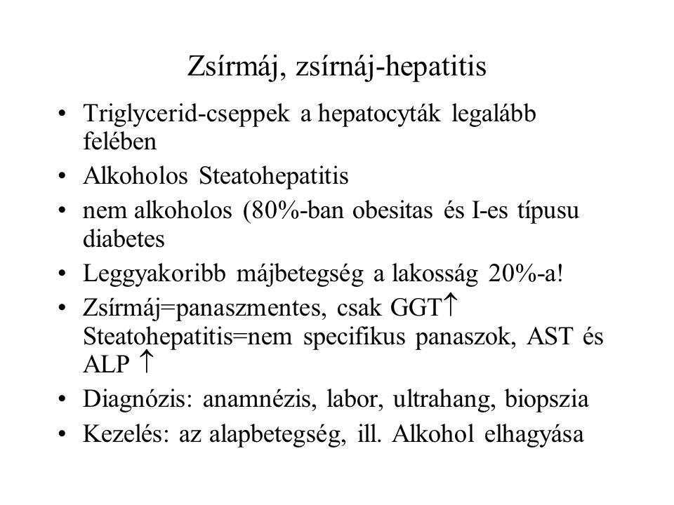 Zsírmáj, zsírnáj-hepatitis Triglycerid-cseppek a hepatocyták legalább felében Alkoholos Steatohepatitis nem alkoholos (80%-ban obesitas és I-es típusu