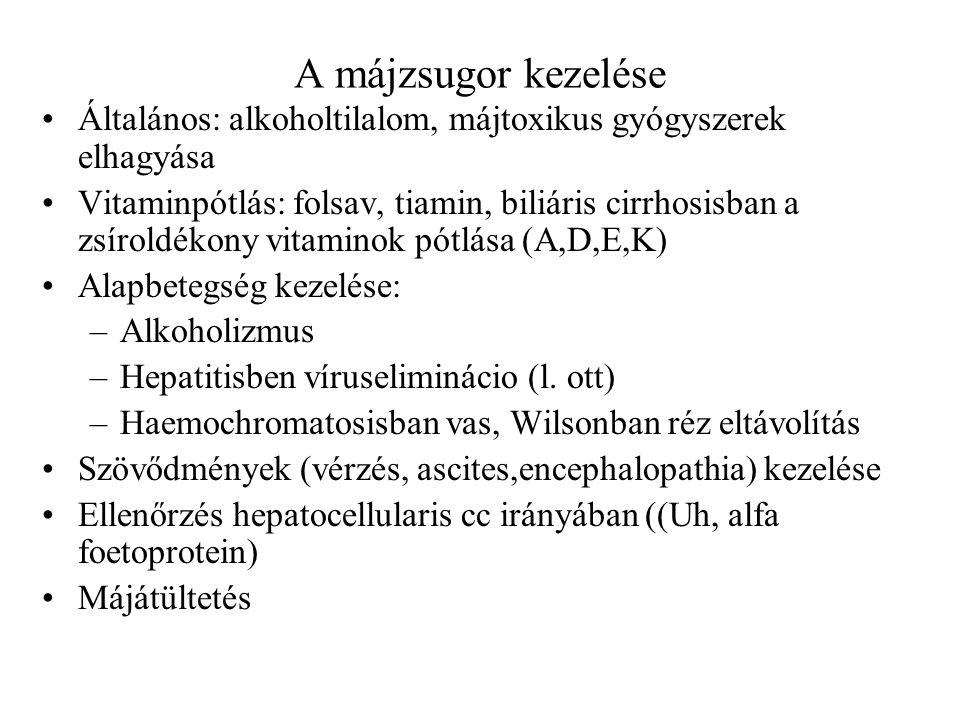 A májzsugor kezelése Általános: alkoholtilalom, májtoxikus gyógyszerek elhagyása Vitaminpótlás: folsav, tiamin, biliáris cirrhosisban a zsíroldékony v