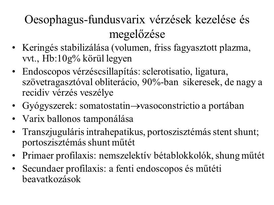Oesophagus-fundusvarix vérzések kezelése és megelőzése Keringés stabilizálása (volumen, friss fagyasztott plazma, vvt., Hb:10g% körül legyen Endoscopo