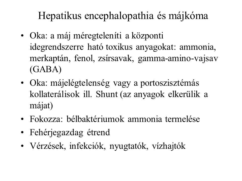 Hepatikus encephalopathia és májkóma Oka: a máj méregteleníti a központi idegrendszerre ható toxikus anyagokat: ammonia, merkaptán, fenol, zsírsavak,