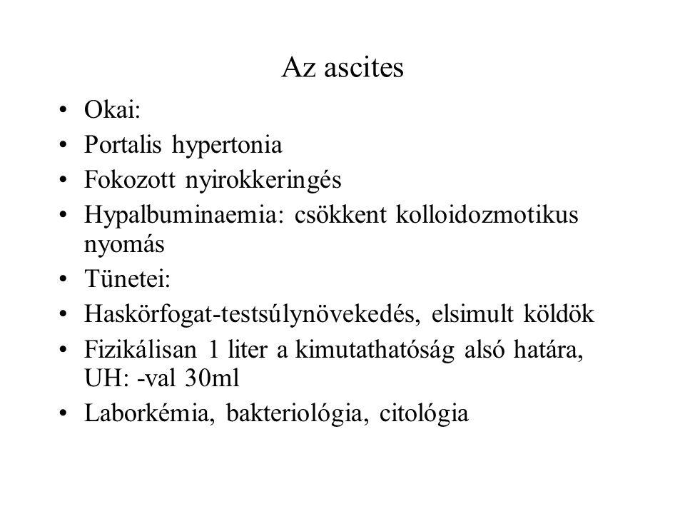 Az ascites Okai: Portalis hypertonia Fokozott nyirokkeringés Hypalbuminaemia: csökkent kolloidozmotikus nyomás Tünetei: Haskörfogat-testsúlynövekedés,