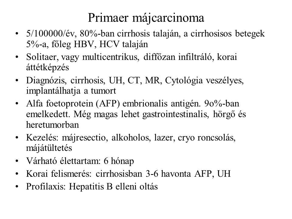 Primaer májcarcinoma 5/100000/év, 80%-ban cirrhosis talaján, a cirrhosisos betegek 5%-a, főleg HBV, HCV talaján Solitaer, vagy multicentrikus, diffőza
