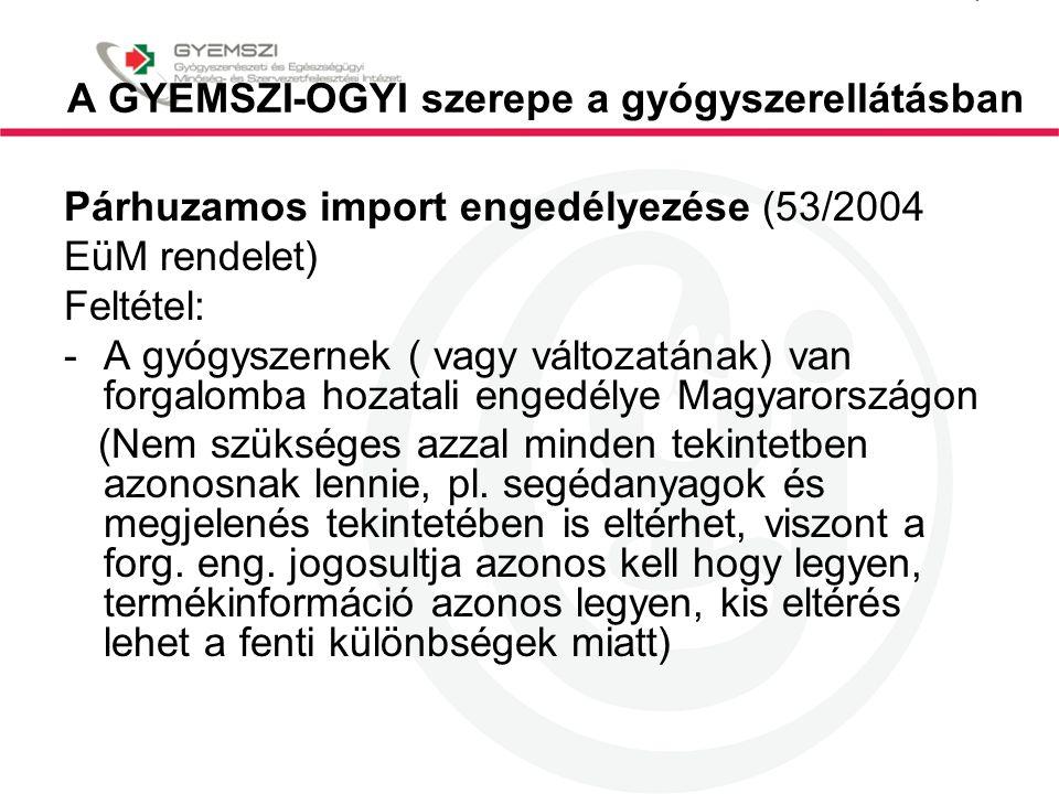 A GYEMSZI-OGYI szerepe a gyógyszerellátásban Párhuzamos import engedélyezése (53/2004 EüM rendelet) Feltétel: -A gyógyszernek ( vagy változatának) van