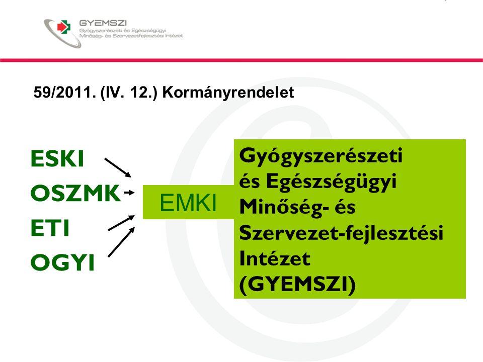 59/2011. (IV. 12.) Kormányrendelet ESKI OSZMK ETI OGYI Gyógyszerészeti és Egészségügyi Minőség- és Szervezet-fejlesztési Intézet (GYEMSZI) EMKI