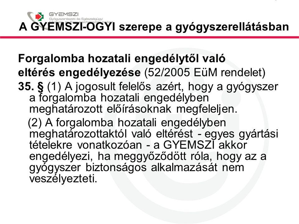 A GYEMSZI-OGYI szerepe a gyógyszerellátásban Forgalomba hozatali engedélytől való eltérés engedélyezése (52/2005 EüM rendelet) 35. § (1) A jogosult fe