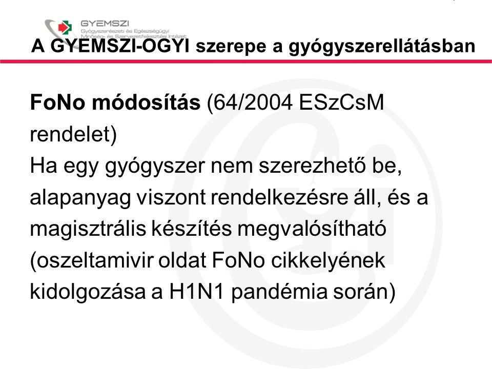 A GYEMSZI-OGYI szerepe a gyógyszerellátásban FoNo módosítás (64/2004 ESzCsM rendelet) Ha egy gyógyszer nem szerezhető be, alapanyag viszont rendelkezé