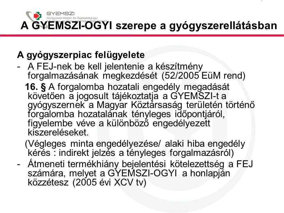 A GYEMSZI-OGYI szerepe a gyógyszerellátásban A gyógyszerpiac felügyelete -A FEJ-nek be kell jelentenie a készítmény forgalmazásának megkezdését (52/20