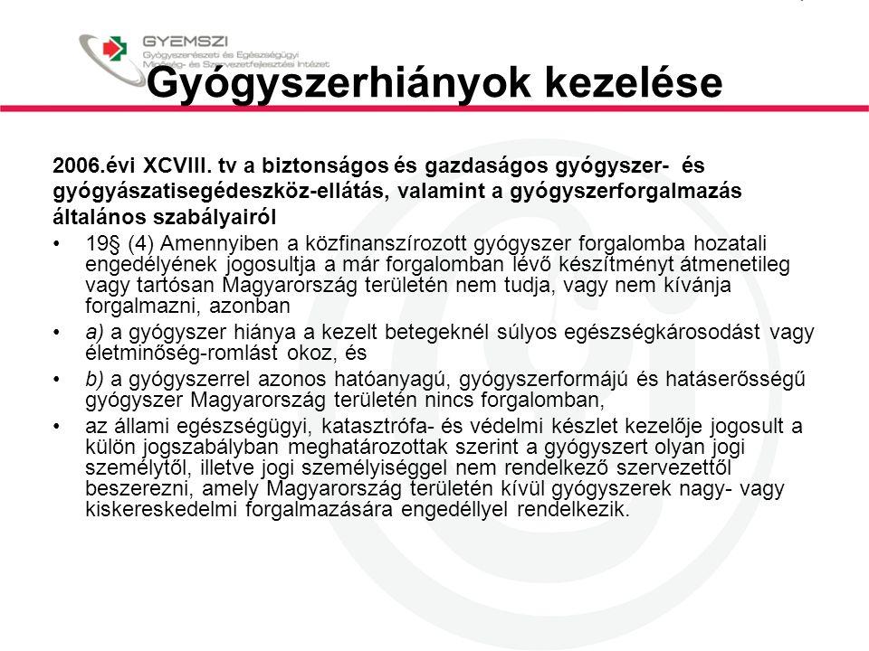 Gyógyszerhiányok kezelése 2006.évi XCVIII. tv a biztonságos és gazdaságos gyógyszer- és gyógyászatisegédeszköz-ellátás, valamint a gyógyszerforgalmazá