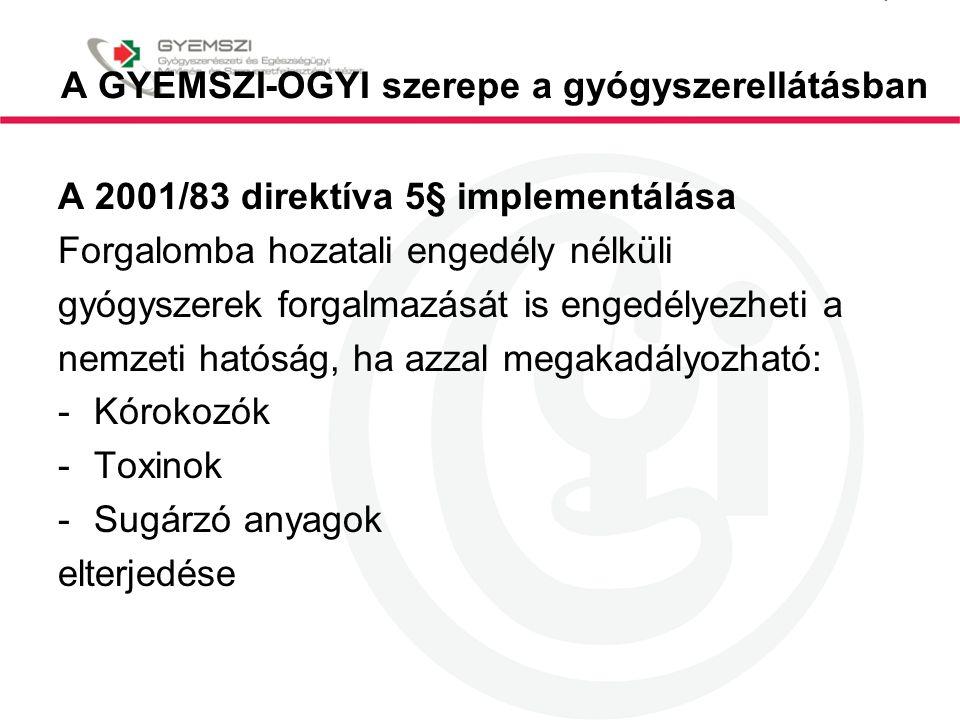 A GYEMSZI-OGYI szerepe a gyógyszerellátásban A 2001/83 direktíva 5§ implementálása Forgalomba hozatali engedély nélküli gyógyszerek forgalmazását is e