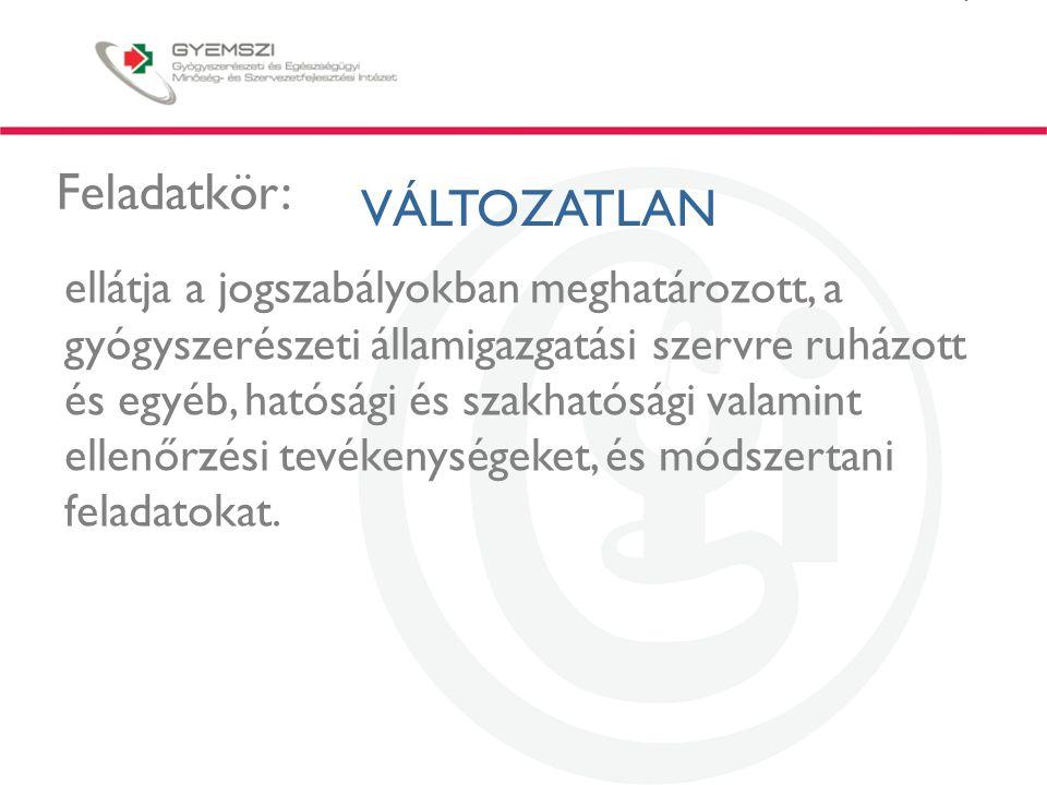 A GYEMSZI-OGYI szerepe a gyógyszerellátásban A rendelkezésre álló gyógyszerkincs Gyógyszerengedélyezés/módosítások/megújítás 8000 termék (különböző hatáserősség és gyógyszerforma külön terméknek számítva) Nemzeti, nemzetközi és centralizált eljárások Az engedélyezés magyar specifikumai: - végleges minta engedélyezés - nyilatkozat az egyenértékűségről és helyettesíthetőségről, ami hatóanyag fixesítés és a gyógyszertári helyettesíthetőség alapja