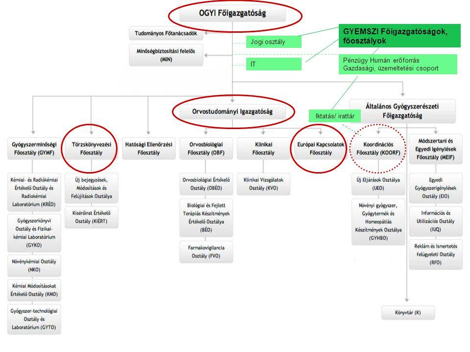 Iktatás/ irattár Jogi osztály IT Pénzügy Humán erőforrás Gazdasági, üzemeltetési csoport GYEMSZI Főigazgatóságok, főosztályok