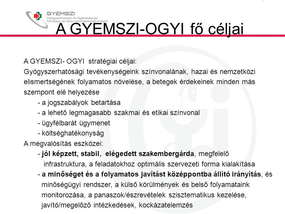 A GYEMSZI-OGYI fő céljai A GYEMSZI- OGYI stratégiai céljai: Gyógyszerhatósági tevékenységeink színvonalának, hazai és nemzetközi elismertségének folya