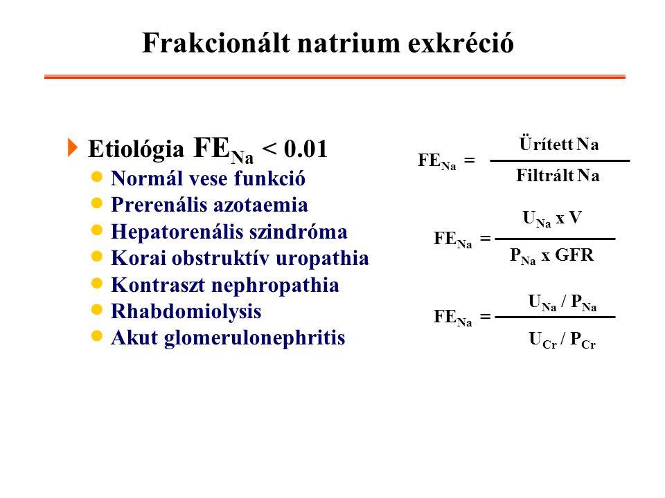 Frakcionált natrium exkréció  Etiológia FE Na < 0.01  Normál vese funkció  Prerenális azotaemia  Hepatorenális szindróma  Korai obstruktív uropat