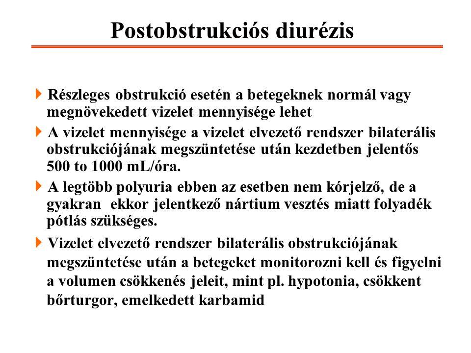 Postobstrukciós diurézis  Részleges obstrukció esetén a betegeknek normál vagy megnövekedett vizelet mennyisége lehet  A vizelet mennyisége a vizele