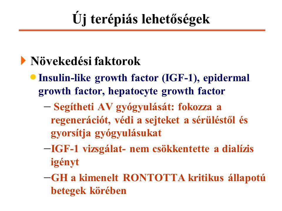 Új terépiás lehetőségek  Növekedési faktorok  Insulin-like growth factor (IGF-1), epidermal growth factor, hepatocyte growth factor  Segítheti AV g